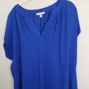 Blue v neck blouse